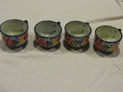 4 hand thrown pottery teacups coffee cups  - blue floral - made in El Salvador