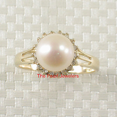 14k Solid Yellow Gold 8-8.5mm AAA White Cultured Pearl Diamond Cocktail Ring TPJ