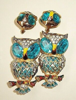 Vintage CORO Aqua Blue Owl Duette Brooch Fur Clips & Earrings, Adolph Katz 1944