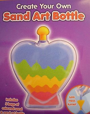 2x Sand Art Bottle Create Your Own Colourful 5 Bags of Sand Heart Shape Kid Play