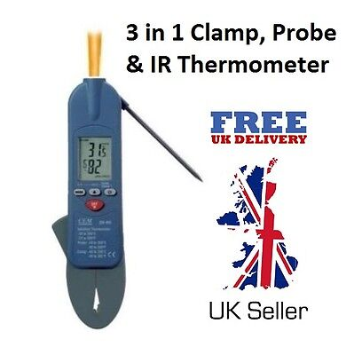 3 in 1 Infrared, Clamp & Probe Thermometer - Food - Legionella Testing & Air Con