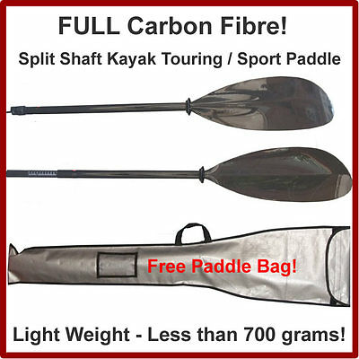 Full Carbon Fibre Sport / Touring Kayak Paddle less than 760gm NEW