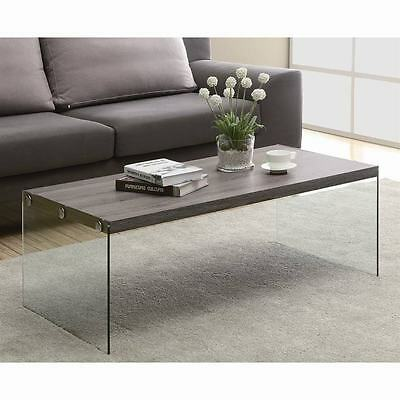 """Monarch I 3054 taupe wood, tempered glass base coffee table, 44"""""""
