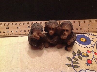 monkey  speak no evil, hear no evil, see no evil small resin statue