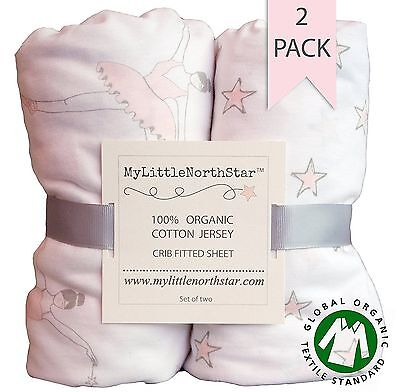 Organic Jersey Cotton Fitted Crib Sheets Ballerina bedding set 2 pack girl NEW
