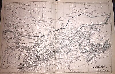 1853 Map of Canada (New Brunswick & Nova Scotia); With Parts of U.S. Great Lakes