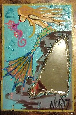 NOR Mermaid with Blond  Hair Kissing A Sea Horse  Folk Art Painting on Wood