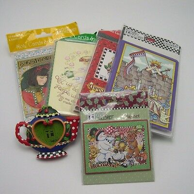 Mary Engelbreit lot 4 packs Notecards NIP 2 Magnets some Christmas