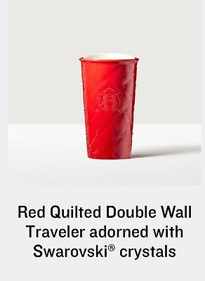 NEW Red Quilted Double Wall Traveler adorned with Swarovski® crystals