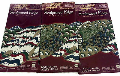 Green and Burgundy Floral Stripes Sculptured Edge Wallpaper Border Lot 3 Packs