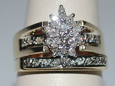 14K Gold Diamond Cluster ring with attached diamond band