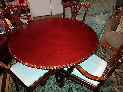 Beautifully Carved Chippendale Style Table and 4 Chairs with Ball & Claw Feet