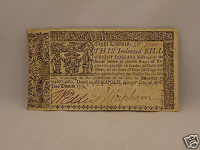 Fine 241 year old COLONIAL CURRENCY NOTE $8 April 10, 1774 - MARYLAND