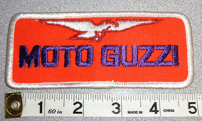 VTG MOTO GUZZI  VINTAGE SEW ON EMBROIDERED PATCH Deadstock!  4 7/16 x 2 1/8
