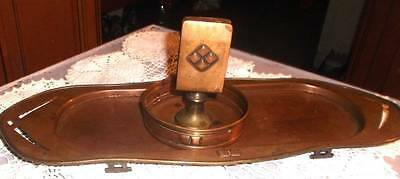 Arts & Crafts era hand wrought copper smoking tray and match holder~Roycroft era
