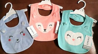 Carter's Baby Girls Cotton Blend Terry Feeding Bibs Set of 3 Bear-Fox-Owl