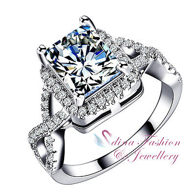 18K White Gold GP Simulated Diamond Radiant Cut Crossover Band Engagement Ring