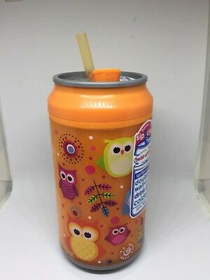Cool Gear 12oz. Double Wall Insulated Drink Can w/Twist-Off Lid-New-orange Owls