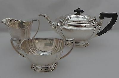 ART DECO STERLING SILVER 3 PIECE MODERNIST TEA SET Henry Atkins 1942 - 933 grams