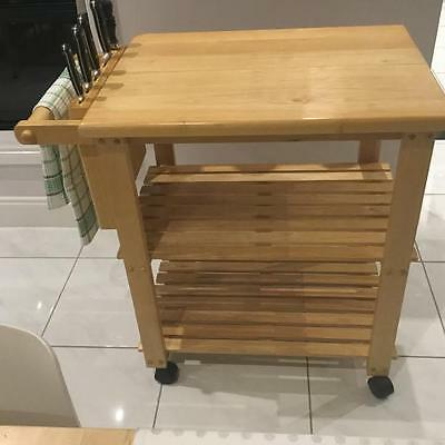 Kitchen Trolley Island Bench Butchers Block Brand New With  Built In knife Block