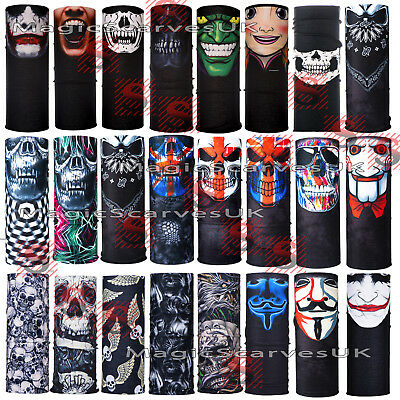 Joker Skull Moto Biker Neck Tube Scarf Face Mask Warmer Balaclava Bandana Snood