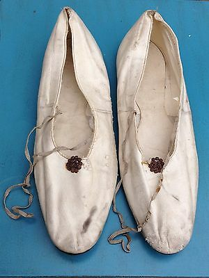 Antique Victorian shoes slippers 19th century kid leather original ties as found