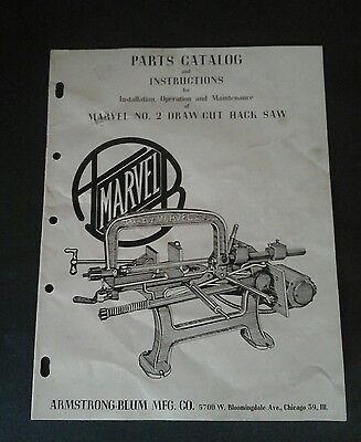 Vintage Armstrong Blum Marvel brochure parts catalog, Draw cut hack saw