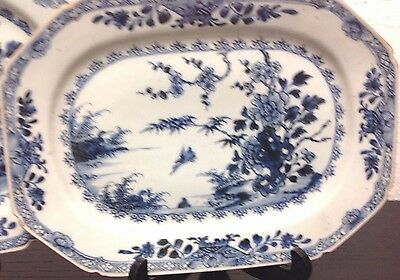 25% OFF Two Antique Blue & White Chinese Porcelain Platters w River Scene & Bird