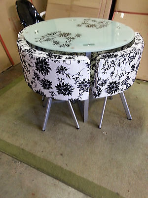 Glass round  dining table and 4 chairs -=-=