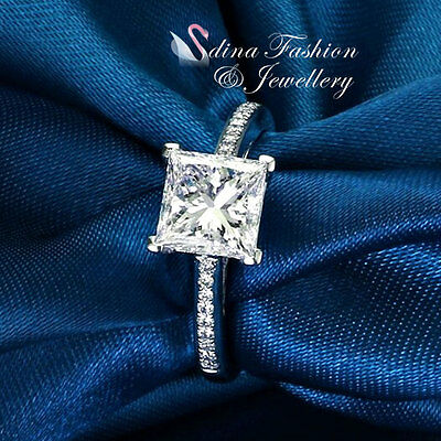 18K White Gold Plated Exquisite Princess Cut Diamond Engagement Wedding Ring