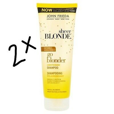 2 x John Frieda Sheer Blonde Go Blonder Lightening Shampoo 250ml .JOBLOT OF 2.