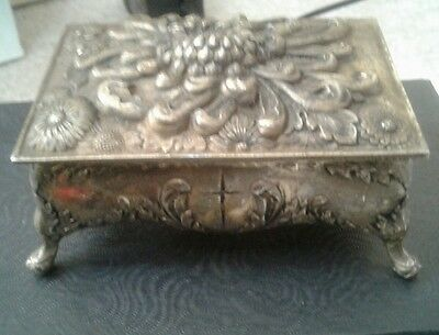 Vintage Embossed Footed Metal Hinged Trinket Box Made in Japan Floral Scene