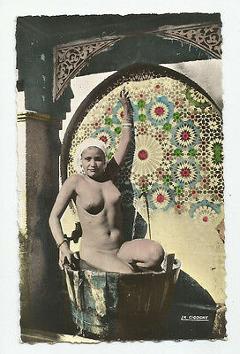 Nude moor mauresque arab woman in fountain *tinted* MOROCCO real photo postcard