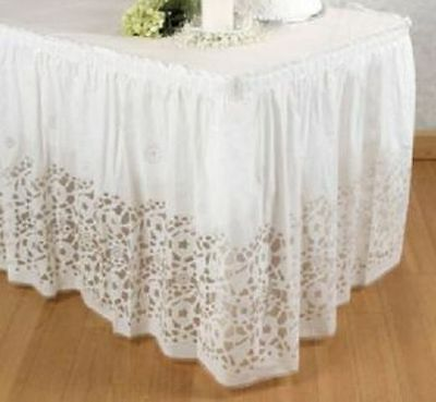 "1- BANQUET BUFFET Serving Table Skirt 14' x 29"" White Plastic Lace Print Pleated"