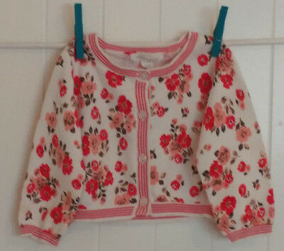 Pumpkin Patch Girl Toddler EUC Floral Pink Red Beige Spring 12-18 M Sweater