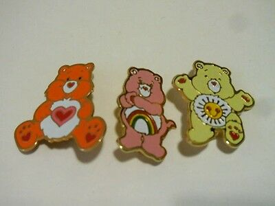 VINTAGE 80's CARE BEARS PINS METAL SHINY & COLORFUL SUNSHINE RAINBOW & HEART EUC