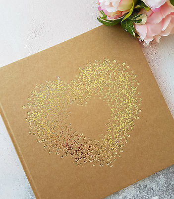 Personalised Wedding Guest Book & Box. Kraft Guest Book with Gold Printed Heart