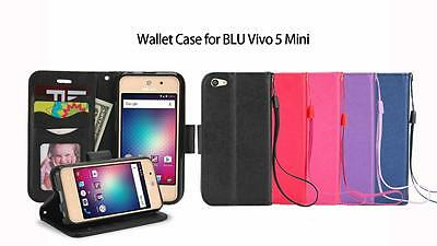 BLU Vivo 5 Mini / VIVO5 Mini V050Q Leather Wallet Case w. Credit Card Slots