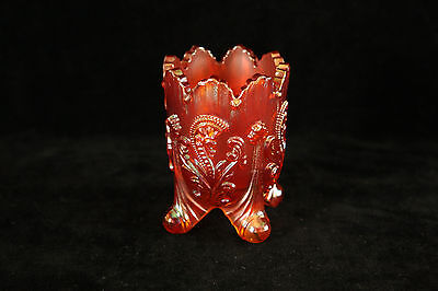 St. Clair Glass Marigold Carnival Inverted Fan Feather Pattern Toothpick Holder