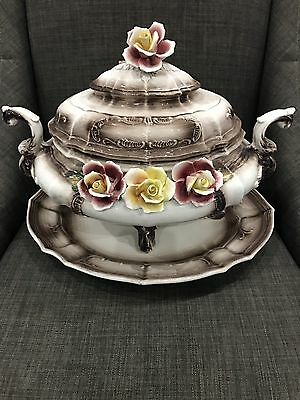Capodimonte Brown with Maroon and Yellow Roses Soup Taureen Italy 3 Pcs