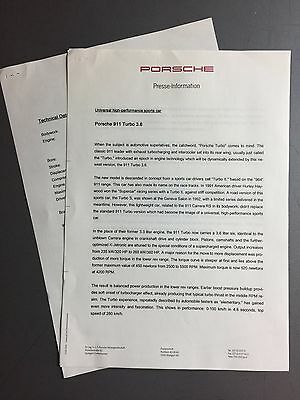 1993 Porsche Turbo 3.6 Factory issued Press Release Press Kit RARE! Awesome L@@K