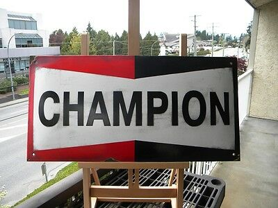 """CHAMPION BIG OLD PORCELAIN SIGN ~23-1/2""""x 11-3/4""""SPARK PLUGS OIL ADVERTISING GAS"""