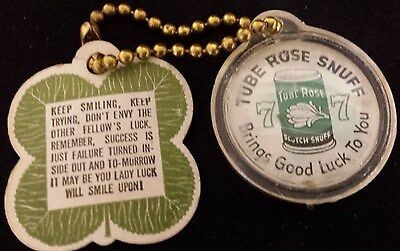 Vintage Tube Rose Snuff Tobacco Keychain With 4 Leaf Clover Advertising