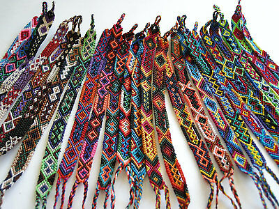 #230 Cuzco Five Woven Wool Pattern Friendship Bracelets Pack Lot Peru Artisan