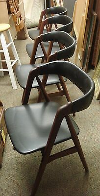 set of 4 KAI KRISTIANSEN Teak DANISH MODERN A Frame Chair Chairs for restoration