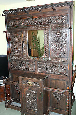 Victorian large carved oak hall stand