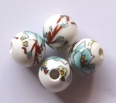 30pcs 10mm Round Porcelain/Ceramic Beads - White / Pale Turquoise Flowers