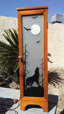 Howling Wolf Silhouette Night Light Wood Cabinet w/Frosted Glass Door - CD to TP