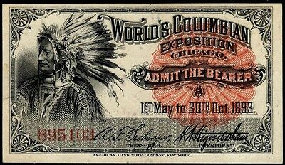 1893 Columbian Expo Tickets - XF -- PERFECTION!!! x4 diff