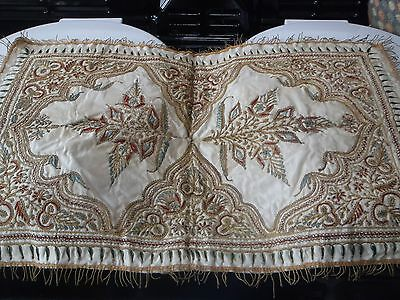 Antique Mughal Indian Gold Metal Silk Thread Embroidery Panel Tablecover Hanging